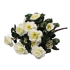 Inverlee 1Pcs Artificial Flowers Azalea Safflower Floral Fake Flowers Wedding Bridal Bouquet DIY Home Garden Decor (White) 98