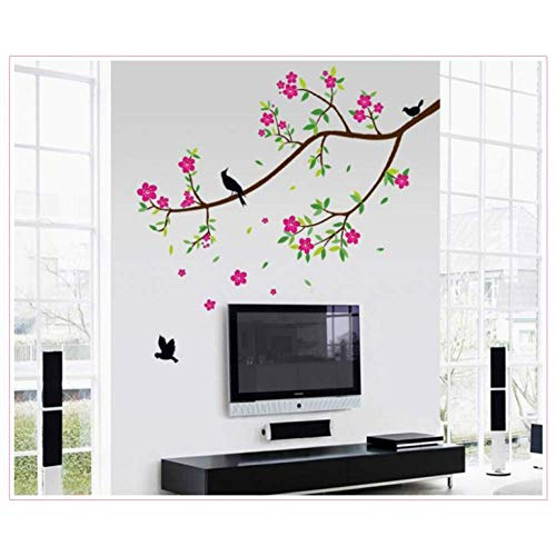 ONZFLXM Wall Sticker Flower Sakura Wall Stickers Graceful Peach Blossom Birds Wall Stickers Kids Room Living Room Mural Home Decoration