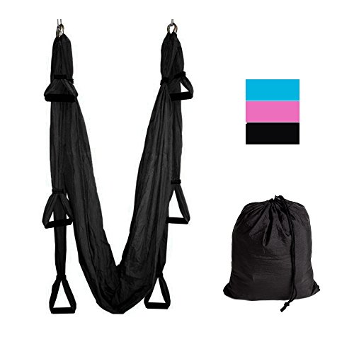 Yoga Swing/Trapeze,Yoga Inversion Sling Swing,Aerial Anti-Gravity Yoga Hammock Swing Trapeze Fitness Inversion Pilates (Black)