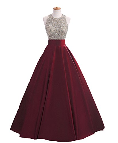 HEIMO Women's Sequins Keyhole Back Evening Ball Gown Beaded Prom Formal Dresses Long H095 22W Burgundy