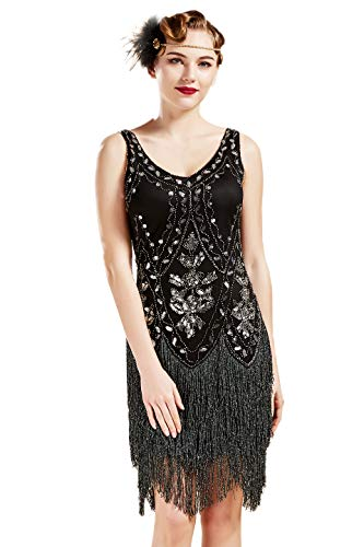BABEYOND 1920s Flapper Dress Roaring 20s Great Gatsby Costume Dress Fringed Embellished Dress (Black & Silver, L) -