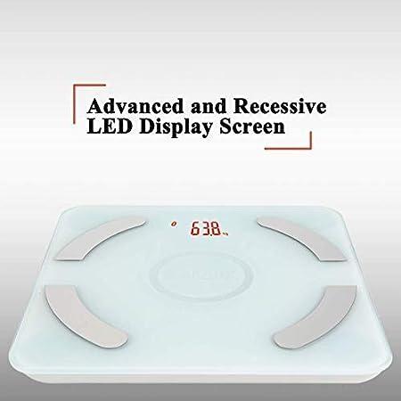 EDLUX Básculas de Grasa Corporal Bluetooth, básculas de Peso Digitales, Modo de Carga USB, Vidrio Templado, Peso de Las Medidas, Grasa Corporal, Agua, ...