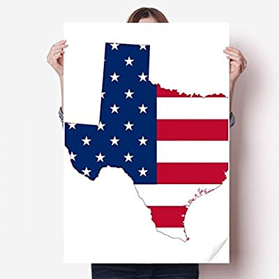 DIYthinker Texas USA Map Stars Stripes Flag Shape Vinyl Wall Sticker Poster Mural Wallpaper Room Decal 80X55cm
