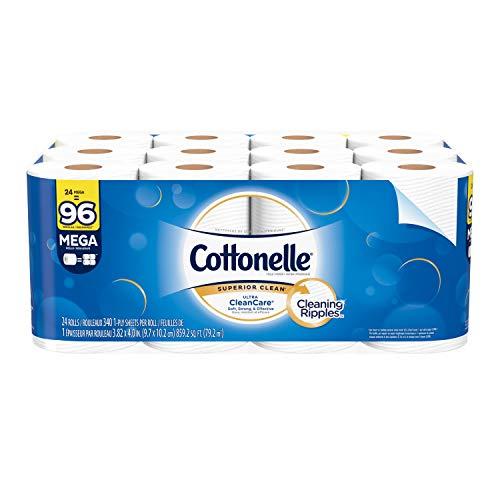 Cottonelle Ultra Cleancare Toilet Paper, Strong Bath Tissue, 24 Mega Rolls , 24 rolls
