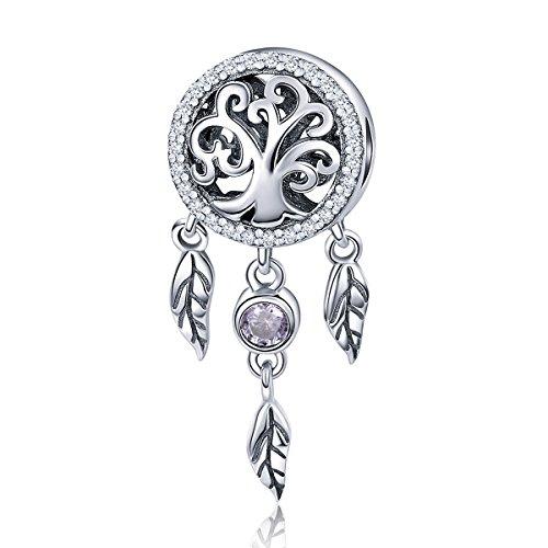 BAMOER 925 Sterling Silver Beautiful Drop Net Charms Pendants for Women Teen Girls Bracelet Necklace Gift