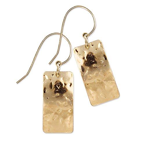 (Petra Earrings, 14k Gold Overlay Dangle Earrings for Women, Boho Dangle Earrings, Bridal, Wedding, Hypoallergenic, Drop Earrings for Women with Hand-Hammered Detail - Holly Yashi)