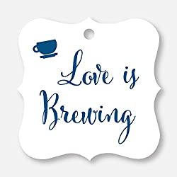 24 ct Love Is Brewing Wedding Favor Tags, Beer, Teapot, Coffee Cup (FS-095-NV)