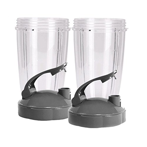 NUTRiBULLET 24-Ounce Cups with Flip Top To-Go Lid by NutriGear (Pack of 2) | NutriBullet Replacement Parts & Accessories | Fits NutriBullet 600w and Pro 900w Blender by NUTRiGEAR