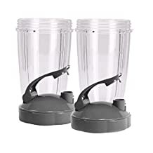 QueenTrade 2Set Replacement 24OZ Tall Cup with Flip Top to Go Lids For Nutribullet 600w & 900w Blender Mixer Replacement Accessories Parts