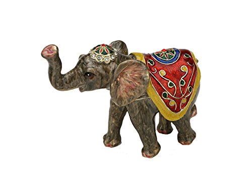Elephant Figurine with Houdah set with Swarovski Crystals Howdah Pill Jewelry Trinket Box Certificate of Authenticity Decorated Saddle Limited Edition (Pill Trinket Jewelry Box)