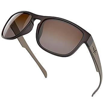 Wayfarer Sunglasses Fishing Glasses Polarized Mens Womens Small Face,Matte Brown Sunglasses Nylon Brown Gradient Lens UV400 Protection TR90 Lightweight