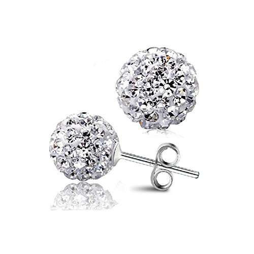 Silver Disco Ball Earrings (Odette Bling Bling Crystal Ball 925 Sterling Silver Plated Stud Earrings (8mm))