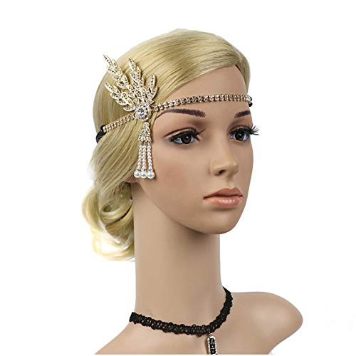 1920's Flapper Headbands Great Gatsby 20s Headpiece Flapper Costume Accessories (Gold) ()