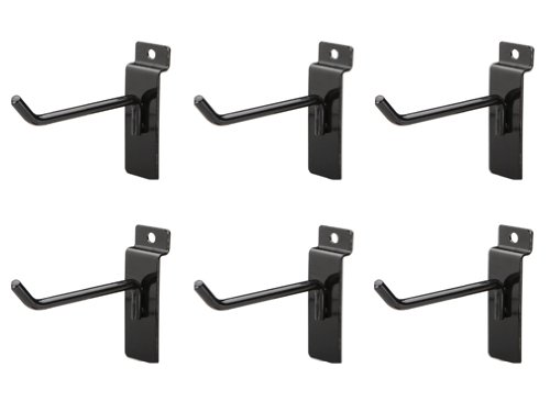 Jifram Easy Living 01100679 Easy Wall Bag of Six 4-Inch 45 Degree Black Metal Slatwall Hooks with Stabalizer and Double Hook Clips by Jifram Extrusions