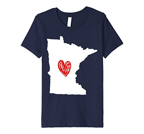 unisex-child Minnesota Heart T-Shirt 10 Navy