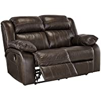 Ashley Furniture Signature Design - Branton Reclining Love Seat - Leather Power Recliner Sofa - Contemporary Style - Antique Brown