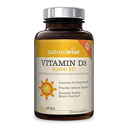 NatureWise Vitamin D3 5,000 IU for Healthy Muscle Function, Bone Health and Immune Support, Non-GMO in Cold-Pressed Organic Olive Oil,Gluten-Free, 1-year supply,2 Pack 360 count (.720 Softgels)