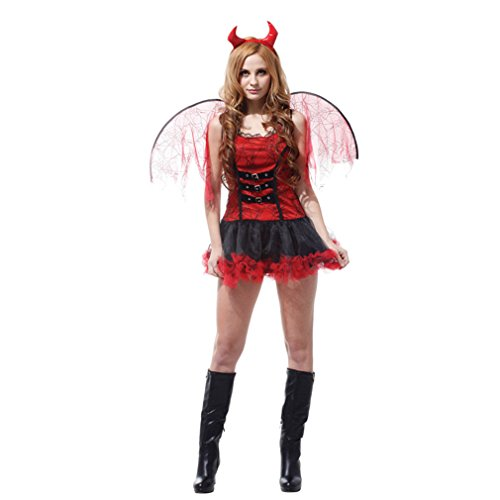 Spooktacular Women's Halloween Red Devil Costume with Dress & Accessories, S