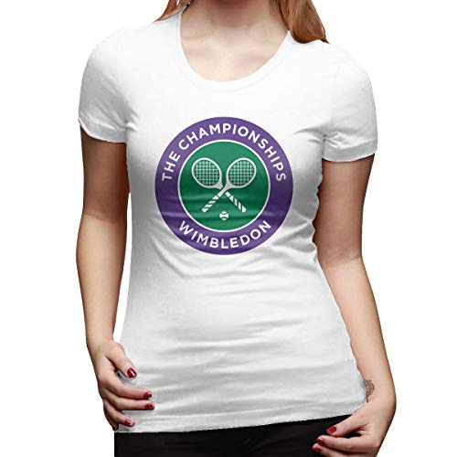 (PerfectMeet Womens 2016 Wimbledon Championships Four Grand Slam Tennis Tournament Logo Leisure T Shirts White L with Short Sleeve)