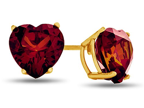 Finejewelers Solid 14k Gold 7x7mm Heart Shaped Stones Post-With-Friction-Back Stud Earrings
