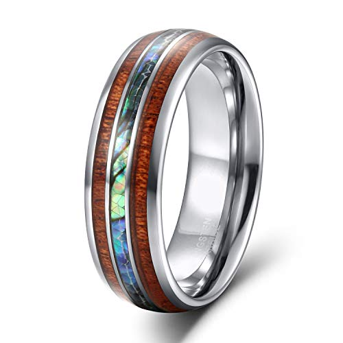 8mm Hawaiian Koa Wood and Abalone Shell Tungsten Carbide Rings Wedding Bands for Men Comfort Fit Size 8.5
