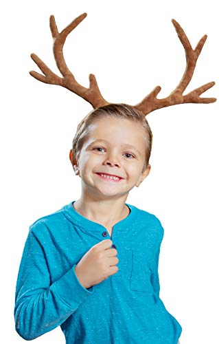 Itsy Bitsy Frog Reindeer Antlers Headband or Holiday Headband (Brown)]()