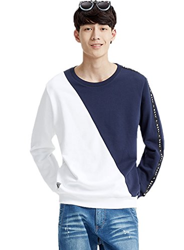 meters-bonwe-mens-color-block-round-neck-pullover-casual-sweatshirt-bluewhite-m