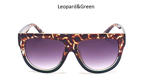 Womenr Vintage Flat UV400 sol Bastidor sol Señoras grande de Moda hembra tonos Blueredgray Gafas Gafas sobredimensionado ZHANGYUSEN Top remache de Leopardgreengray de wvqPET