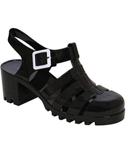 Pilot Carolina Block Heel Jelly Sandals Black 1ayRUkSC1