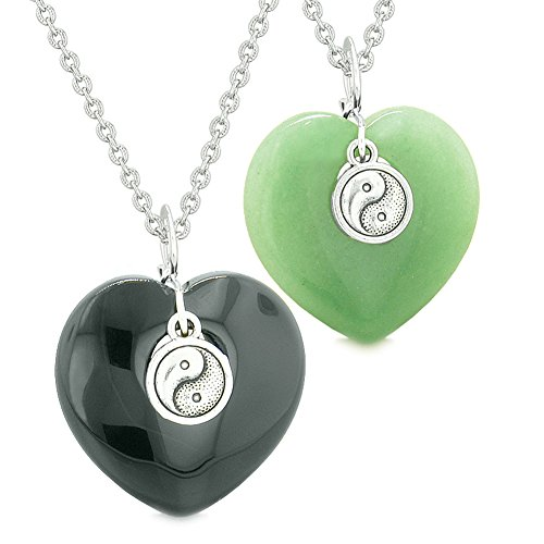 Yin Yang Powers Magic Hearts Love Couples or Best Friends Set Black Agate Green Quartz Necklaces