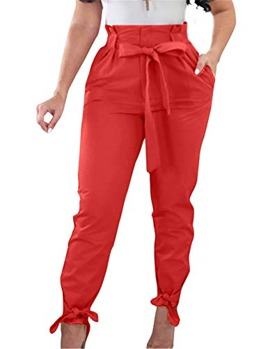 GOBLES Women Solid Casual Work Trousers High Waist Ruffle Bow Tie Pants red