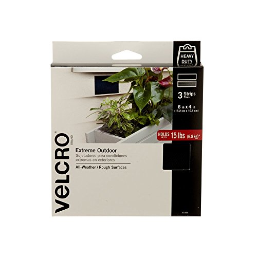VELCRO Brand - Industrial Strength Extreme Outdoor | Heavy Duty, Superior Holding Power on Rough Surfaces | 3 Strips | 6in x 4in | Black by VELCRO Brand