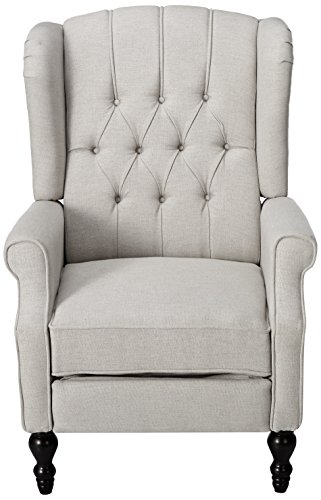 Christopher Knight Home 299844 Elizabeth Tufted Light Grey Fabric Recliner Arm Chair