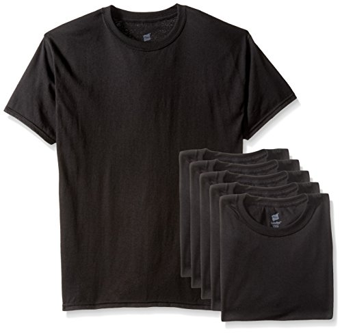 (Hanes Men's Ecosmart T-Shirt (Pack of 6), Black, Medium)