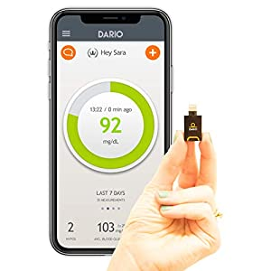 Dario LC Blood Glucose Monitor Kit for iPhone – Test Your Blood Sugar Levels and Estimate A1c. Kit Includes: Glucometer with 25 Strips,10 Sterile lancets and 10 Disposable Covers