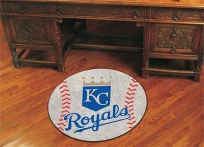 MLB Kansas City Royals Baseball Shaped Mat Round Area (Kansas City Royals Baseball Rug)