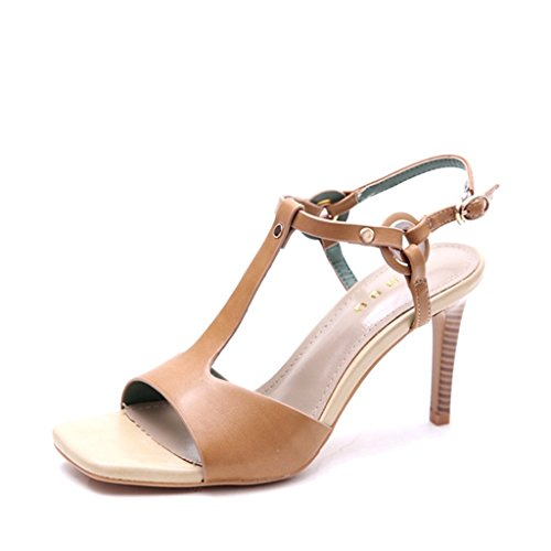 hebilla fino Shoes 35 fina fino los con zapatos dedo expuesto Europa una Estados y sandalias Khaki el Khaki tacón zapatos Unidos long225mm otoño pie Color de ALUK del Tamaño qUF6Z4n
