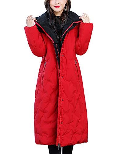en avec fausse chaude de longue section fourrure rembourrée veste femme capuche Veste zvnxZ