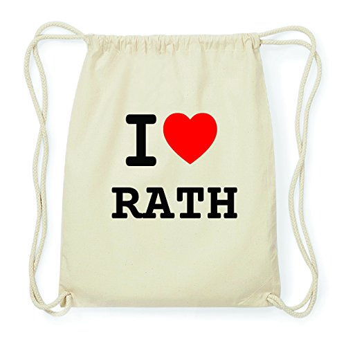 JOllify RATH Hipster Turnbeutel Tasche Rucksack aus Baumwolle - Farbe: natur Design: I love- Ich liebe YGRT0