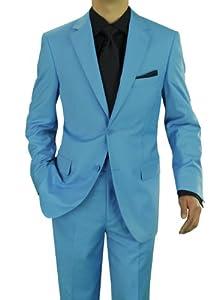B00HV6HJAU Presidential Giorgio Napoli Men's Two Button Suit Sky Blue (44 Regular US / W 38 US, Sky Blue)