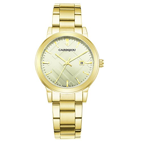 - CARDQIOU Women Gold Watch Stainless Steel Waterproof Watch Ladies Clearance Watch with Calendar Date