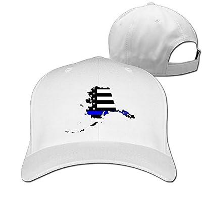 SeeSeasan Alaska State Map Element Shape Thin Blue Line Design Custom Sandwich Peaked Cap Unisex Baseball Hat