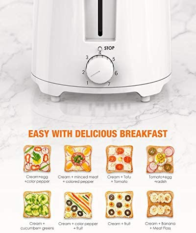 """Toaster HOMEVER 2 Slice Toaster, 7 Temperature Settings toaster, 1.5"""" Extra Wide Slots Toaster, 900W, TXT-044 White"""