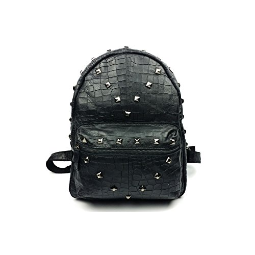 BENNINGCO Ladies Casual Backpack, Head Layer Leather Rivet Bag School Bagpack(Black)