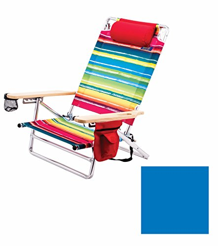 Deluxe Pillow Lay Flat 5 Position Aluminum Chair (Light Blue) Pkg/1 by RIO Gear