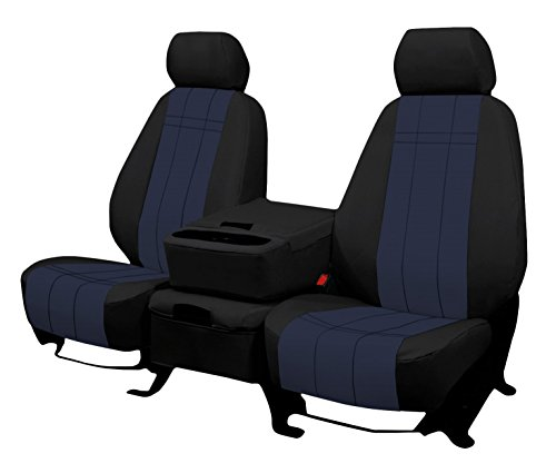 THIRD ROW SEAT: ShearComfort Custom Waterproof Cordura Seat Covers for Toyota Highlander (2014-2018) in Black w/Blue for 40/60 Split Back and Bottom w/ 3 Adjustable (Suvs Third Row Seat)