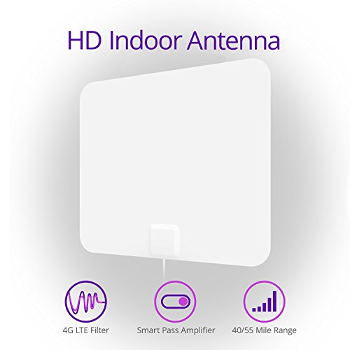 SkyStream Amplified 55 Mile HDTV Indoor/Outdoor Antenna with 4G LTE Filter 4K Ready HD Antenna