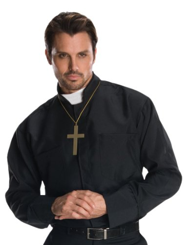 [Rubie's Costume Heroes And Hombres Adult Priest Shirt, Black, X-Large Costume] (Priest Halloween Costumes)