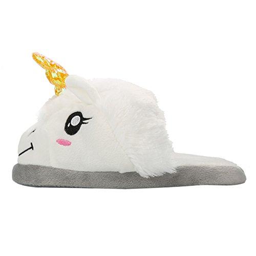 Chaussons Peluche Licorne Unisex Costume Cosplay Pantoufles en Coton Chaussure Maison Doux Blanc