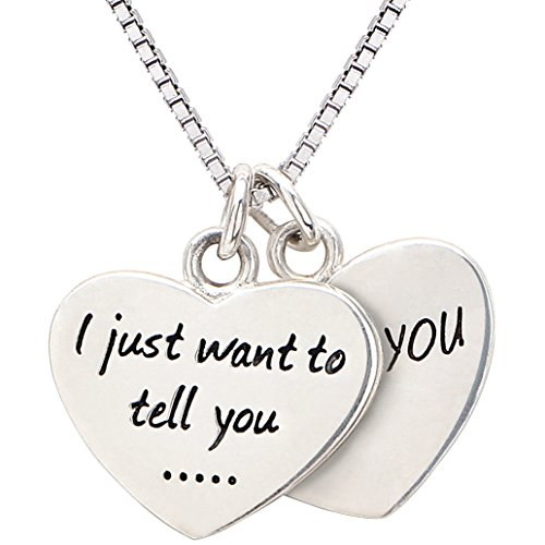 Alov Sterling Silver I just want to tell you… I love you Double Hearts Necklace, 45cm